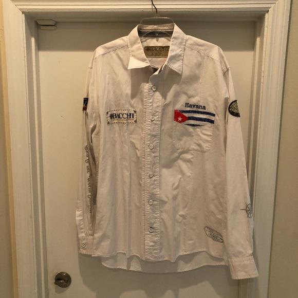 World Map Button Down Shirt.Bacchi Shirts Nautical Lg Sl Shirt Cuba Cigar Poshmark